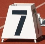 Number 7 marking a lane on a running track