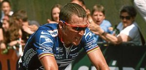 Lance Armstrong on bicylce, blue jersey