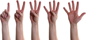Hands counting one through five